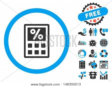 Tax Calculator icon with free bonus design elements. Glyph illustration style is flat iconic bicolor symbols, blue and gray colors, white background.