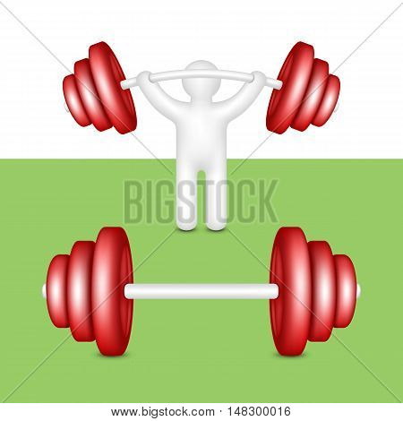Athlete lifts a barbell. Composition for weightlifting.