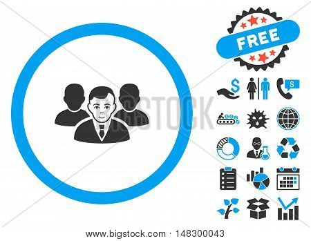 Team icon with free bonus clip art. Glyph illustration style is flat iconic bicolor symbols, blue and gray colors, white background.