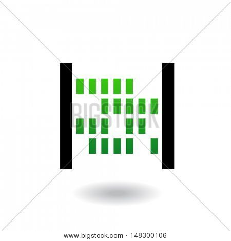 Abacus with green beads and black body isolated on white