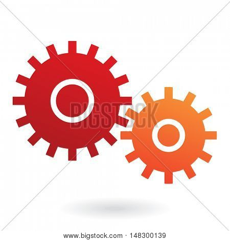 Red and orange cogs isolated on white