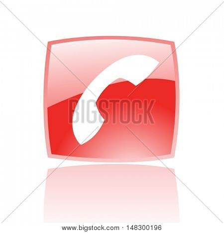 Glossy phone in red button isolated on white