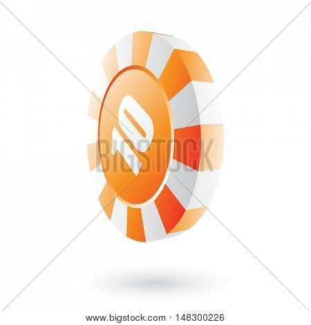 Orange roulette chip isolated on white
