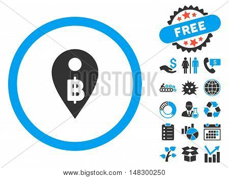 Thai Baht Map Marker pictograph with free bonus symbols. Glyph illustration style is flat iconic bicolor symbols, blue and gray colors, white background.