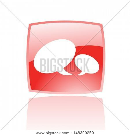 Glossy speech bubbles in red button isolated on white