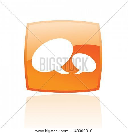 Glossy speech bubbles in orange button isolated on white