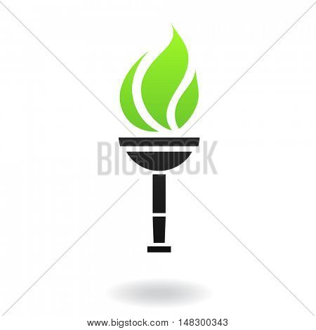 Ancient green and black torch isolated on white