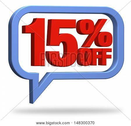 3D rendering 15% discount deduction rebate percentage