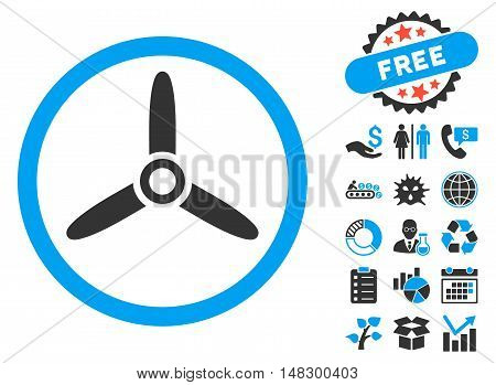 Three Bladed Screw icon with free bonus pictures. Glyph illustration style is flat iconic bicolor symbols, blue and gray colors, white background.
