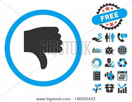 Thumb Down icon with free bonus pictures. Glyph illustration style is flat iconic bicolor symbols, blue and gray colors, white background.