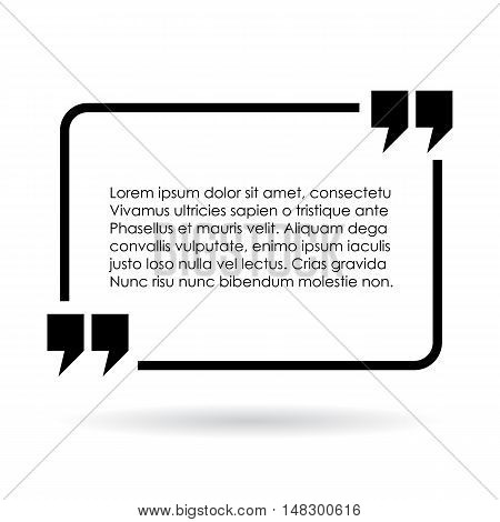 Rectangular quote text frame vector illustration isolated on white background