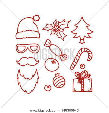Hand drawn Christmas and New Year icons, vector design element, red line illustration isolated on white. Santa Claus symbols and attributes. Christmas hat, gift box, sweet, candy cane, holly, tree