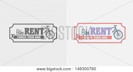 Bike Rentals Vector Logo, Label Or Badge Design Template. Color And Monochrome