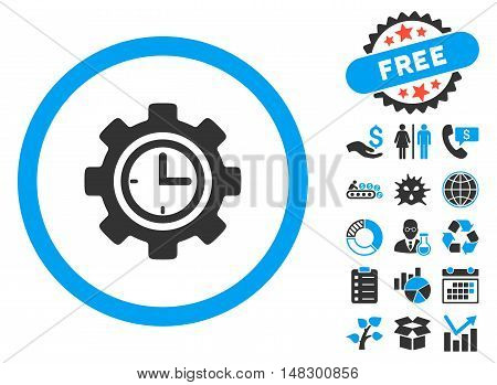 Time Setup icon with free bonus elements. Glyph illustration style is flat iconic bicolor symbols, blue and gray colors, white background.