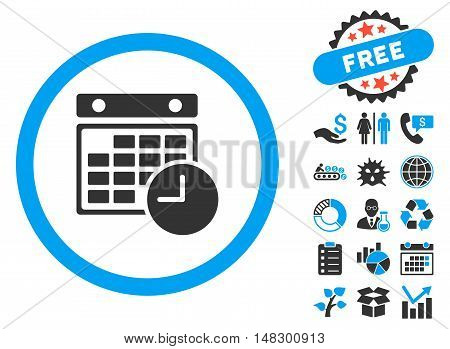 Time Table pictograph with free bonus clip art. Glyph illustration style is flat iconic bicolor symbols, blue and gray colors, white background.