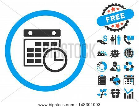 Timetable pictograph with free bonus icon set. Glyph illustration style is flat iconic bicolor symbols, blue and gray colors, white background.