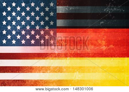 USA and Germany flags - Vintage flag concept