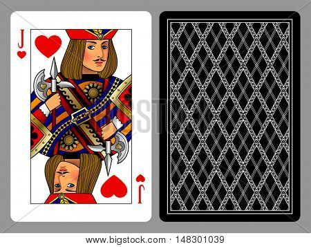Jack of Hearts playing card and the backside background. Colorful original design. Vector illustration