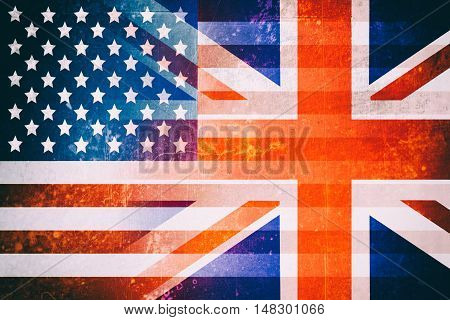 USA and UK flags - Vintage flag concept