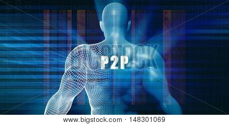 P2p as a Futuristic Concept Abstract Background 3d Illustration Render