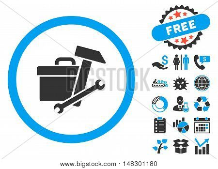Toolbox pictograph with free bonus clip art. Glyph illustration style is flat iconic bicolor symbols, blue and gray colors, white background.