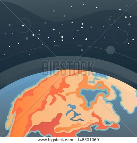 Earth in outer space. Cosmic background with Earth. Planet in universe, vector