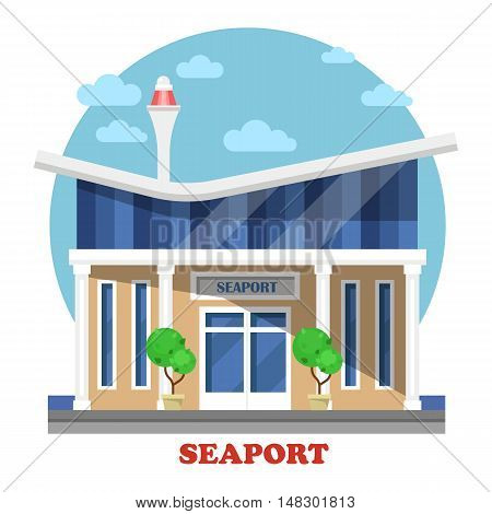 Seaport at seasight building exterior view. Cruise or dry, warm-water or fishing, inland port on river. Facade of maritime and naval, marine structure or construction.