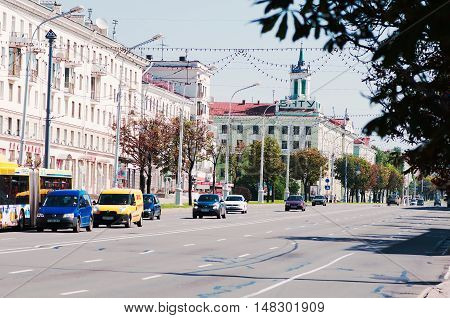 Minsk city, Belarus - August 6, 2016: the central avenue of the city.