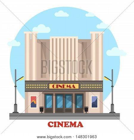 Cinema building for art movies or films. Structure for entertainment and modern construction for leisure. House with lights and posters. Great for relaxation and show, cityscape theme