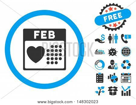 Valentine February Day pictograph with free bonus elements. Glyph illustration style is flat iconic bicolor symbols, blue and gray colors, white background.