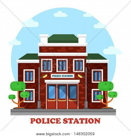 Outdoor exterior view on police station building. Municipal structure for assistance and man with authority fighting crime. Perfectly fit for social place and architecture brick facade