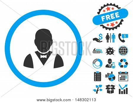 Waiter pictograph with free bonus pictogram. Glyph illustration style is flat iconic bicolor symbols, blue and gray colors, white background.