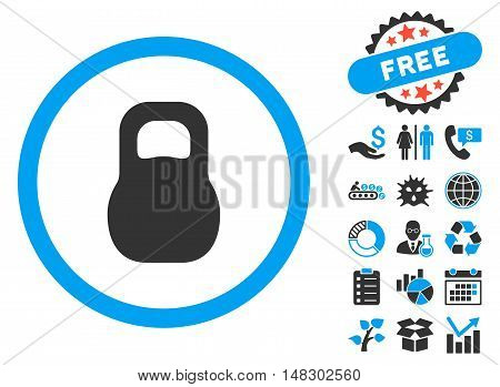 Weight Iron pictograph with free bonus clip art. Glyph illustration style is flat iconic bicolor symbols, blue and gray colors, white background.