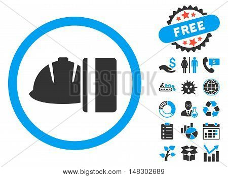 Work Card Payment pictograph with free bonus symbols. Glyph illustration style is flat iconic bicolor symbols, blue and gray colors, white background.