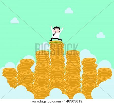 Businessman On The Top Of Money Mountain