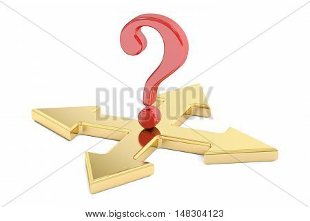 Choice concept with arrows and question mark 3D rendering isolated on white background