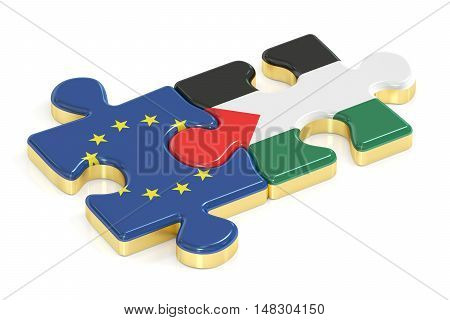 EU and Palestine puzzles from flags 3D rendering