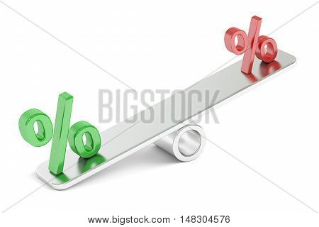 Percent Balance concept 3D rendering isolated on white background