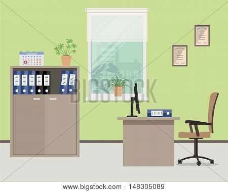Workplace of office worker. Vector flat illustration. On the picture the table, case for documents, a chair, computer and other objects in beige color are situated on a window background