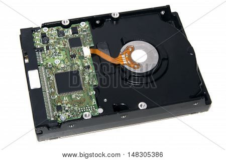 Hard disk on a white background close up