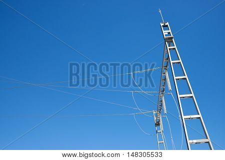 Closeup of an electrical substation, Zaragoza Province, Aragon, Spain.