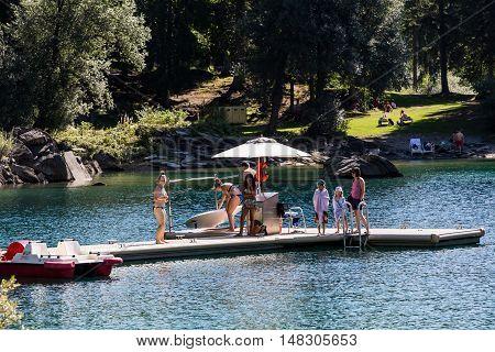 View Of A Paddleboat And Paddleboard Rental Point At The Lake Of Cauma, Flims