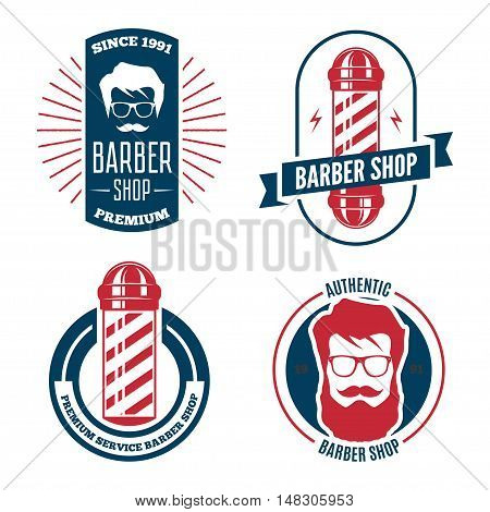 Set of vintage retro labels, logotypes and elements for barbershop