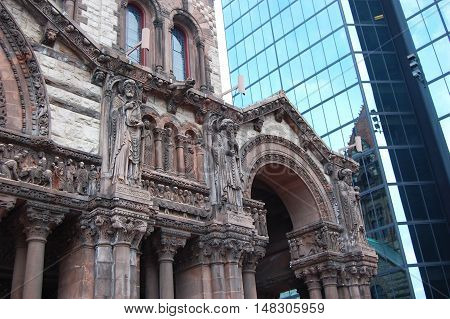 Boston Trinity Church in Copley Square, USA