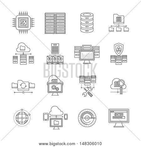 Datacenter linear icons set with information storage and transfer server equipment and cloud technology isolated vector illustration