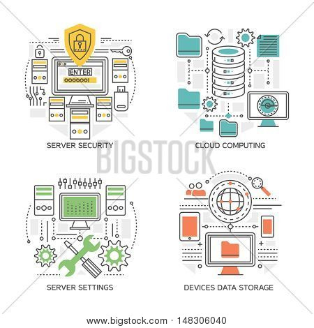 Datacenter linear compositions including server settings and security system cloud computing  devices information storage isolated vector illustration