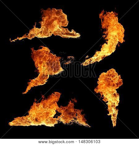 High resolution texture fire collection isolated on black background