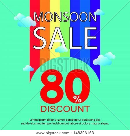 Monsoon Sale With Rainbow Background