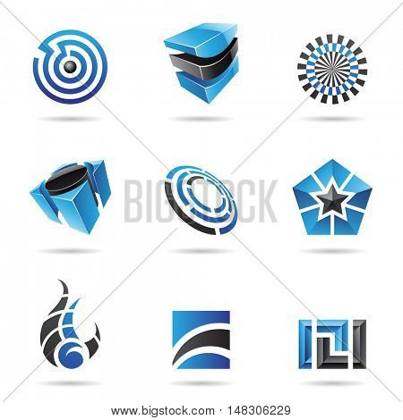 Abstract blue and black icon set isolated on a white background