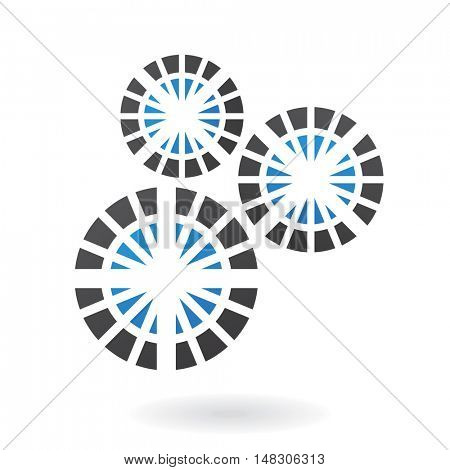 Blue and black logo icon and graphic design element